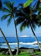 Cruise ship and waves between palm trees along Kona Coast on Big Island of Hawaii