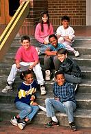 Children sitting on steps