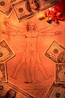 Still life of money and pills spilling out of a pill bottle on top of Leonardo da Vinci's drawing of man