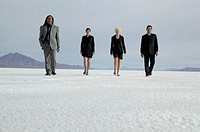 Row of four business people walking in desert