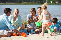Family and Friends Having Picnic on Beach