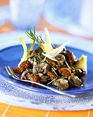 Snail and Morel mushroom salad