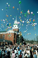 Balloon launch on Easter Sunday at Fourth Presbyterian Church, Bethesda, Maryland.