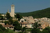 High angle view of buildings in a town, Provence, France