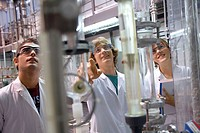 Polytechnic School, University of the Basque Country, Donostia, Gipuzkoa, Basque Country. Students, Distillation towers, Laboratory of Industrial Chem...