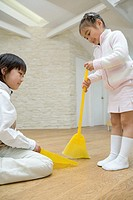 Kids are cleaning on the floor