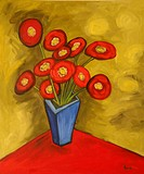 'Red Flowers' 20 x 24' Oil on canvas 2003. Artist's collection