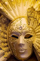 Beautifully decorated Venetian mask, Venice. Veneto, Italy