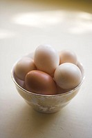 Free range eggs in a china bowl.