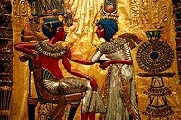 Detail Showing Tutankhamen and Queen from Decorated Throne of Tutankhamen