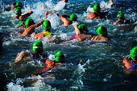 Swimming in San Jose Triathlon