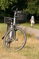City bicycle on a summer meadow