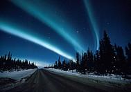 Aurora Borealis above Glenn Highway, Alaska