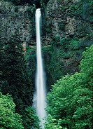 Water falling from great heights of Multonoma Falls, Oregon.