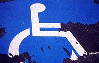 Handicapped Parking Sign in parking lot space. Massachusetts. USA