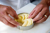 Preparing apple pie. Luis Irizar cooking school. Donostia, Gipuzkoa, Basque Country, Spain (thumbnail)