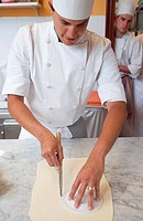 Cutting puff pastry. Luis Irizar cooking school. Donostia, Gipuzkoa, Basque Country, Spain