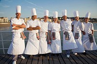 Chefs at Bahia de La Concha. Luis Irizar cooking school. Donostia, Gipuzkoa, Basque Country, Spain