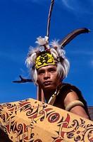 Ethnic Orang Ulu Warrior with Shield, Sarawak Cultural Village, Sarawak, Malaysia
