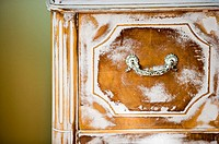 Detail of Distressed White Painted Wood Drawer