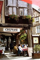 Half-timbered house and pancake restaurant. Dinan. Britanny. France.