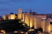 Ávila city walls at night. Castilla-León, Spain