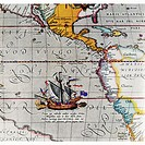 Detail of a Sailing Ship from Map of the Pacific by Ortelius