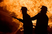 Silhouette, firefighters,  Fire-fighting, detail, on the side  Occupation fire brigade, men, protection clothing, occupation, occupation fire brigade,...