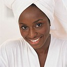 Smiling Woman with Towel on Her Head