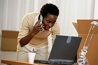 Woman Talking on Cell Phone While Using Laptop