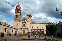 Church of San Agustin (16th century), Plateresque style facade. Morelia, Michoacan, Mexico
