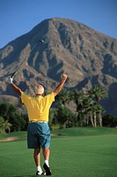Golfer Raising Arms