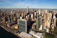 Aerial view of Manhattan and UN building. New York city. USA
