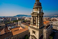 Basilica tower from St. Stephen´s Basilica. Budapest. Hungary.