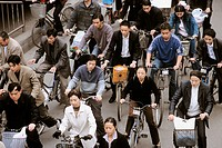 Crowd on bibycles. Chengdu. Sichuan province. China