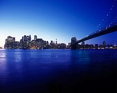 Brooklyn bridge, Downtown skyline, Manhattan, New York, USA