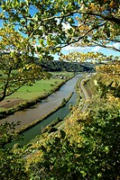 Germany, Rhineland-Palatinate,  Saar valley, close to Saarburg-Krutweiler,  Landscape, river, overview  River landscape, river, Saar, trees, autumn, r...