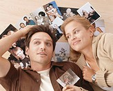couple, smiling, floor, lie,  Family photos, portrait,  Series, 20-30 years, 30-40 years, relationship, memory, past, thinking, thinking back, youth, ...