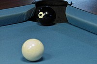 Billiards, detail, balls, white,  black, 8, hole, sinks,  End  Billiard, pool billiard, billiard table, billiard balls, felt, blue, gangs, corner, loc...