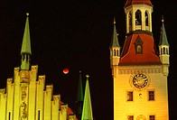 Germany, Bavaria, Munich,  Old town hall, detail, towers,  Illumination, night, moon Upper Bavaria, Marie place, buildings, style Gothic,  1470-80, ar...