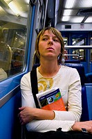girl sitting in the metro