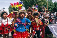 Children group. Oruro carnival. Oruro was a ceremonial centre from prehispanic times. In Paria, the first city in Bolivia founded by Spanish, priest J...