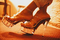 Woman Wearing Clear High Heels