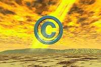 Computer Art Image of Copyright Symbol Hovering Over Landscape