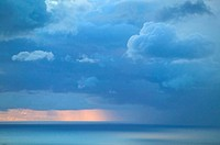 Barbados, ocean, sunrise, horizon, clouds