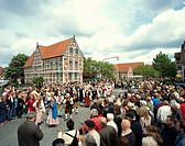 Germany, Lower Saxony, of Alto Land,  Jork, town hall, bloom party,  Traditional move Europe, buildings, house, timbered house, architecture, timberin...
