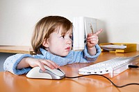 Girls, shows, computers, Mouse,  Portrait, on the side  Series, child portrait, child, toddler, 3-4 years, rotblond, desk, keyboard, computer mouse, c...