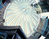 Germany, Berlin, Potsdam place, Sony-Center, detail, dome, from below  Europe, capital, metropolis, business house, roof construction, style, architec...
