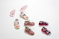 Child shoes, four couples, different   Shoes, baby shoes, Lauflernschuhe, sandals, flip-flops, design, colors different, summery, easily, comfortably,...