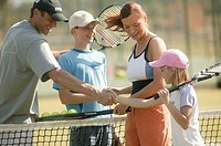 Tennis court, network, family,  Handshake  Series, parents, 30-40 years, children two, 9-14 years,  Tennis players, opponents, tennis game, tennis gam...